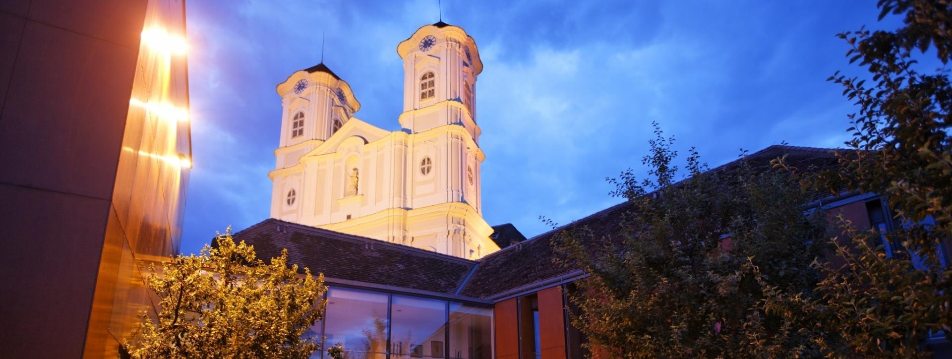 Blick Basilika am Weizberg vom Gastgarten Ederer