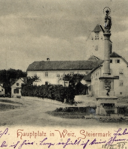 Hauptplatz in Weiz Steiermark 1898 Verlag Strohschneider