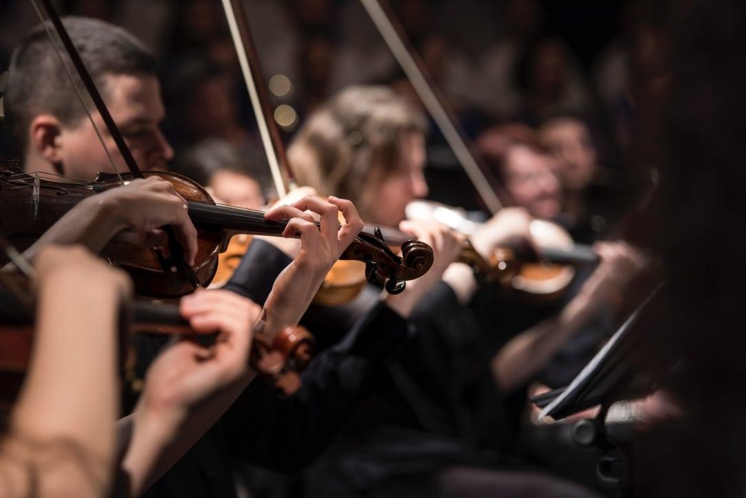 Konzertfoto von Geigen