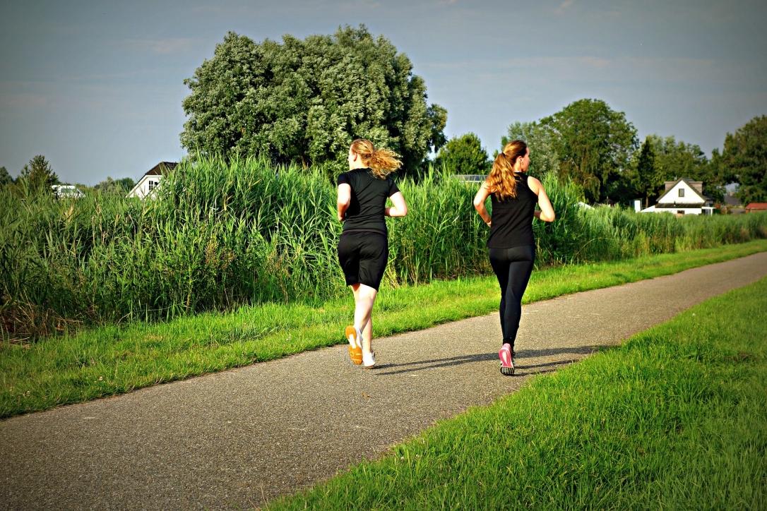 Sie sehen zwei junge Frauen beim Joggen auf einem Weg im Grünen