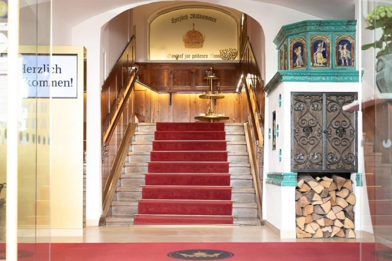 Ein Foto des Eingangsbereiches des Stadthotel zur goldenen Krone