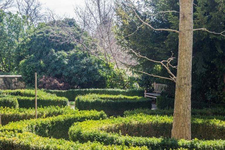 Kräutergartenansicht mit einer Bank zum Verweilen