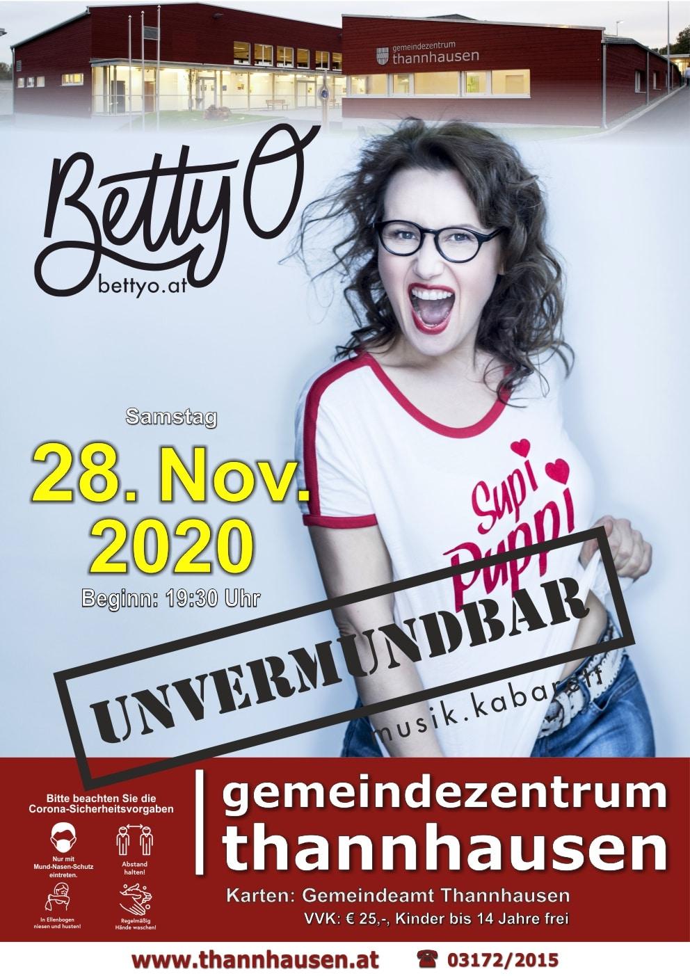 Flyer für das Konzert von Betty O in Thannhausen