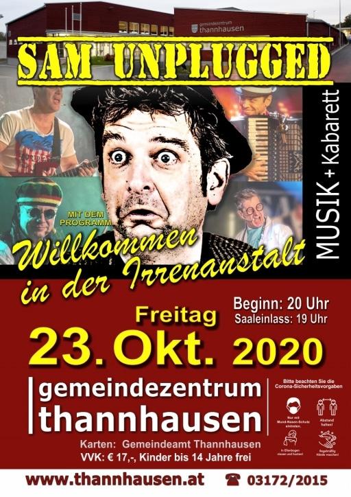 Flyer für das Konzert von Sam unplugged in Thannhausen