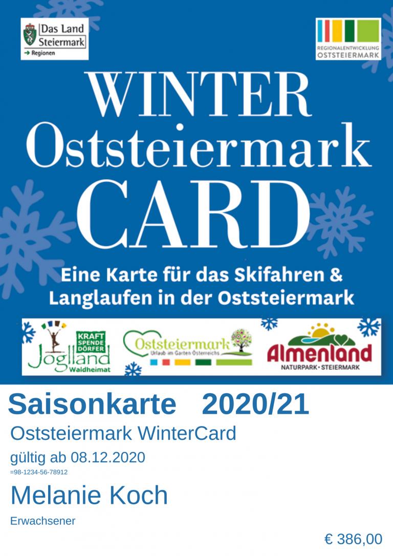 Sie sehen ein Beispiel für die Saisonkarte der Winter Oststeiermark CARD